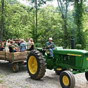 Antique John Deere Tractor and Haywagon