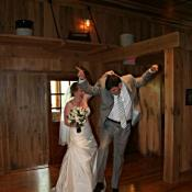 "Groom ""floats"" into the reception"""