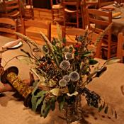 A dried flower arrangement