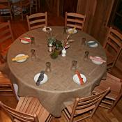 Table setting with burlap